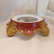 Rich & Striking Limoges Style Plinth/Punchbowl Base; Burnt Sienna & Crackling Gold