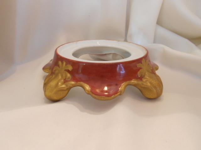 Rich & Striking Limoges Style Plinth/Punchbowl Base; Burnt Sienna & Crackling Gold