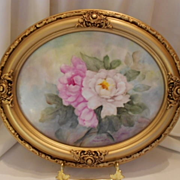 Gorgeous Framed Plaque; Beautiful Peonies; Artist Ruth Kenworthy