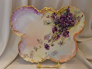 Stunning Limoges Butterfly Shaped Tray; Rich, Deep Double Violets