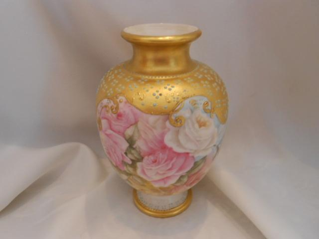 Superb Willets Belleek Urn Shaped Vase:  Soft, Lovely Roses;  Lavish Gold; Raised Paste Turquoise Beading