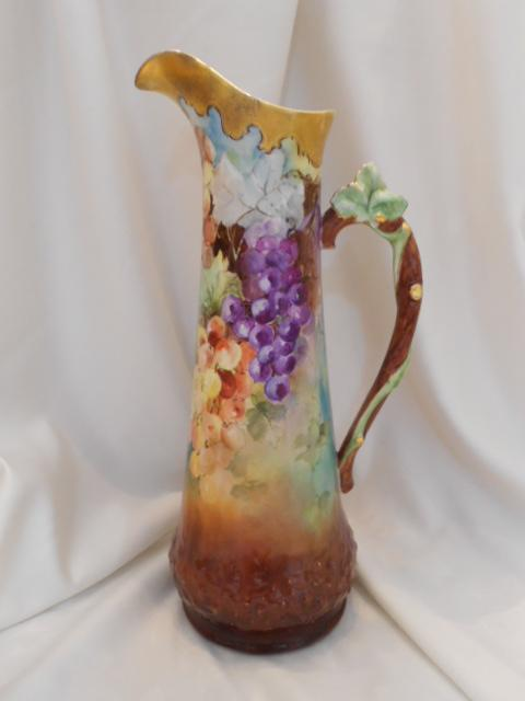 "Spectacular Limoges 15 1/2"" Tall Tankard; Excellent Grapes; Twisted Leaf Handle; Heavy Gold"