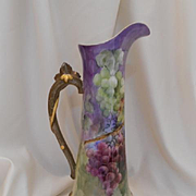 "Outstanding Limoges 15""+ Tall Tankard; Excellent Grapes; Wonderful Twisted Leaf Handle"