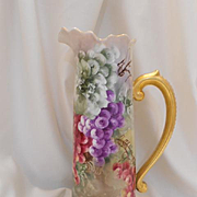 Large & Very Lovely Limoges Tankard; Vivid, Beautiful Grapes