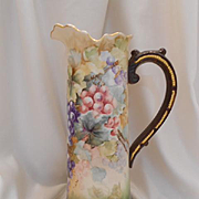 Excellent, Large Willets Belleek Tall Tankard; Luscious & Ripe Grapes