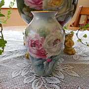 Excellent Ginori Signed Vase; Lovely Pink & White Poppies