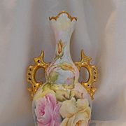 Wonderful European Rose Covered Vase; Superb Cutwork Handles