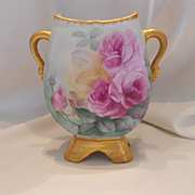 Wonderful Martial Redon Limoges Handled Vase; Excellent Roses; Thick Gold