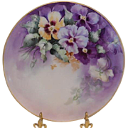 Lovely Limoges Plate with Vivid & Colorful Pansies