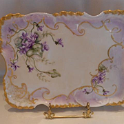Very Lovely & Feminine Limoges 1897  Dresser Tray; Delicate Violets , Gold Scroll work