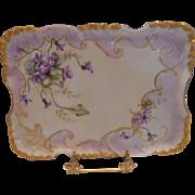 Very Lovely & Feminine Limoges 1897  Dresser Tray; Delicate Violets , Gold Scroll work