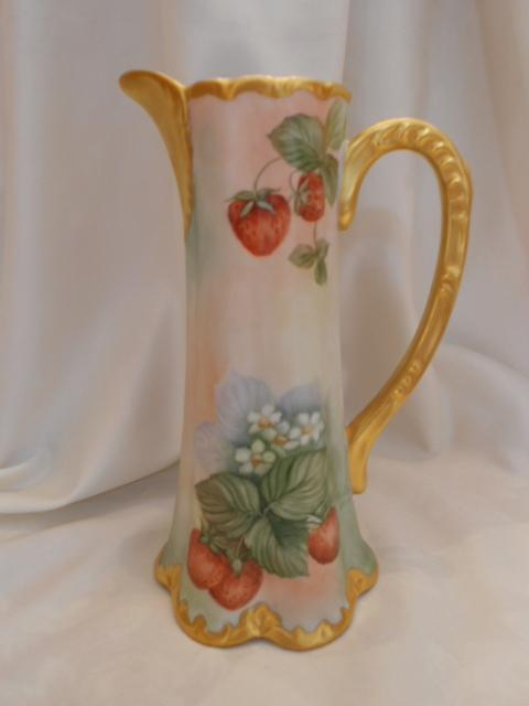 Stunning Limoges/Bavaria Tall Pitcher; Ripe Red Strawberries & Flowers; Heavy Gold