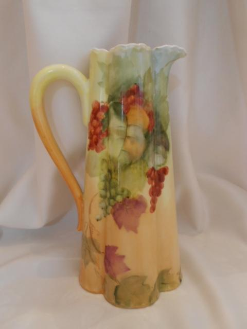 Excellent Haviland Limoges Fluted Pitcher/Ewer; Currants and Leaves