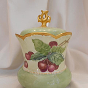 Beautiful C.T. Germany Biscuit or Cracker Jar; Ripe, Hanging Cherries