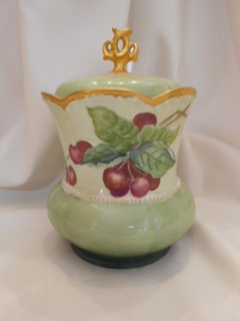 Beautiful C.T. Germany Biscuit or Cracker Jar; Ripe, Hanging Cherries