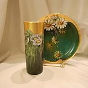 Lovely Limoges Cylinder Vase; Long Stemmed Nouveau Daisies