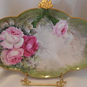 Lovely Limoges Split Handle Tray; Rosette; Pink Roses