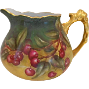 Beautiful European Cider Pitcher; Rich Cherries; Rococo Handle