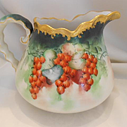 Lovely Limoges Cider Pitcher; Hand Painted Ripe, Red Currants; Heavy Gold Rim