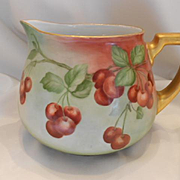 Large, Handsome Guerin Limoges Cider Pitcher; Beautiful, Lush Cherries