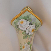 Very Lovely Bavarian Wall Pocket/Wall Vase; Exquisite White Roses