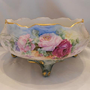 Wonderful & Delicate Limoges Footed Ferner; Soft & Pretty Roses