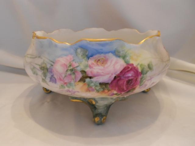 Wonderful & Delicate Limoges Footed Ferner; Soft & Pretty Roses