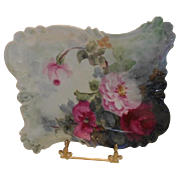 Gorgeous Limoges Rococo Tray; Red & Pink Roses