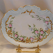 Very Lovely Klingenberg Limoges Scalloped Tray; Dainty Pink Roses & Raised Paste Gold Scroll & Lattice word