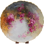 "Fabulous, Immense 18"" Limoges Charger/Tray; Expertly and Beautifully Hand Painted Roses/Master Painter"