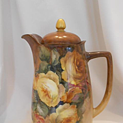 Very Lovely Hand Painted Bavarian Chocolate Pot; Gorgeous Sprays of Golden Yellow Roses