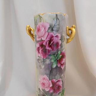 Very Beautiful Bavarian Twisted Handled Vase; Vibrant Burgundy Roses