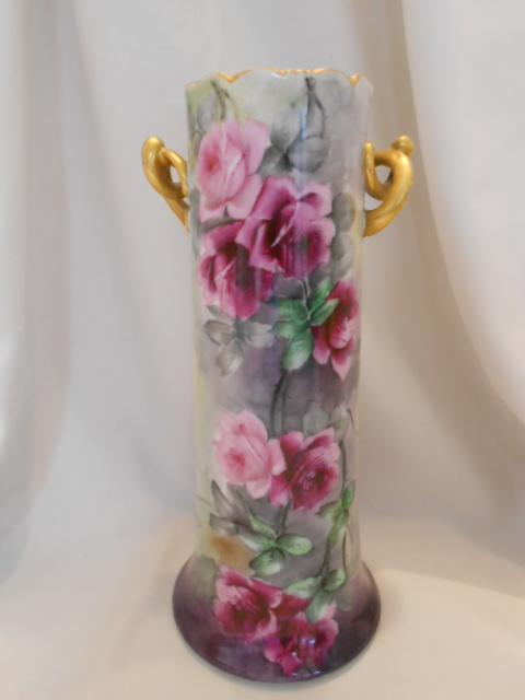 Very Beautiful Bavarian Twisted Handled Vase; Vibrant Burgundy Roses