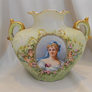 Outstanding Limoges J.P.L. Pillow Vase; 19th Century Woman; Medallion & Cherubs