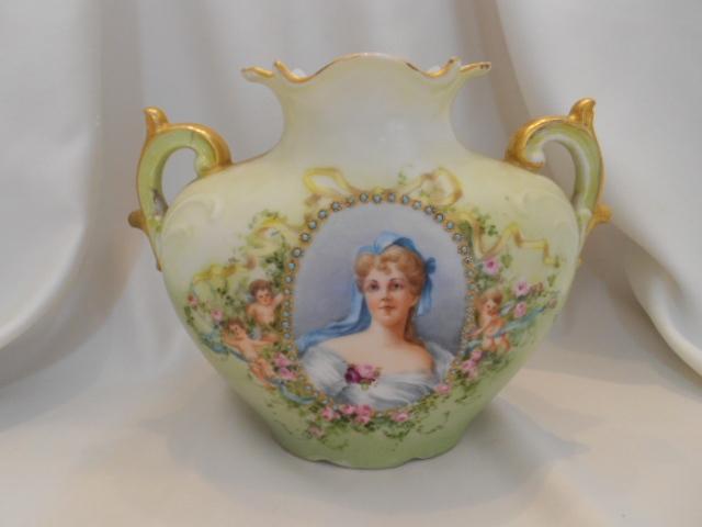 Outstanding Limoges J.P.L. Pillow Vase; 19th Century Woman; Medallion & Cherubs