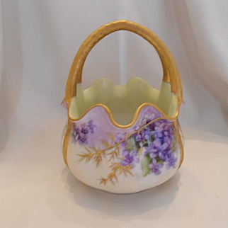 Beautiful T&V Limoges Split Handle Basket; Violets & Gold Overlay