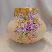 Lovely Limoges Bulbous Vase; Handpainted Lilacs, Heavy Gold Overlay