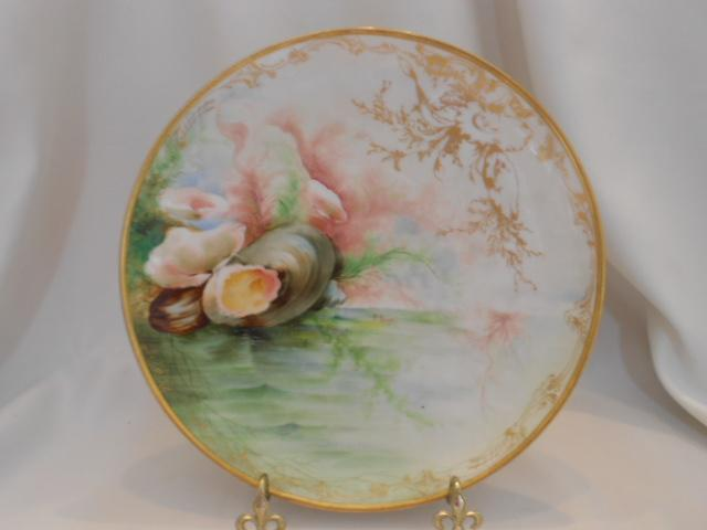 Gorgeous Ginori Plate; Hand Painted Oysters; Artist P. Brogi