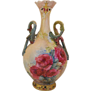 Outstanding Limoges Twisted Handle Vase; Rich Ruby & Pink Roses; Wonderful Mold