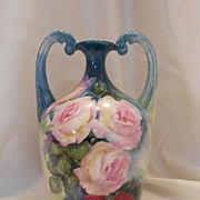 Beautiful Limoges Muscle Vase; Hand Painted Roses on Blue