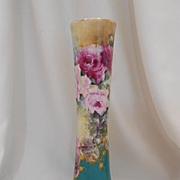 Exquisitely Hand Painted Trumpet Vase; Lovely Roses, Raised Paste Gold Roses , Scroll & Lattice Work
