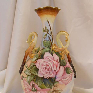 Lovely Limoges Twisted Handle Ornate Vase; Fat Pink & Yellow Roses