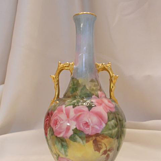 Excellent Limoges 1902 Hand Painted Vase; Lovely Colors; Wonderful Roses