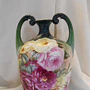 Huge, Superb Limoges Double Handled Muscle Vase; Huge Roses, Artist C. Parker
