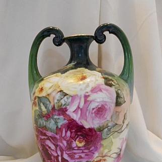 Huge, Superb Limoges Double Handled Muscle Vase; Huge Roses, Artist C. Parker
