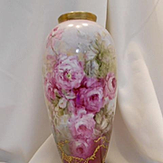 Beautiful Vase with Handprinted Impressionistic Roses; Raised Paste Gold Work
