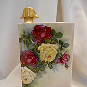 Gorgeous Limoges Book Decanter; Hand Painted Roses; Artist