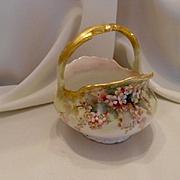 Exquisite T&V Limoges Handled Basket; Peachy Pink Apple Blossoms