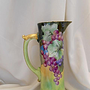 Beautiful Limoges Tall Tankard; Vivid, Rich Bunches of Grapes
