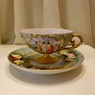 Spectacular Haviland Limoges Pedestal Cup & Saucer Set; Dancing Maidens; Hand Painted Rose Clusters; Raised Gold Paste Scroll